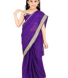 Buy Bhartiya Paridhan Girls Ready To Wear Stitched Designer Saree With Stitched Blouse kids-saree online