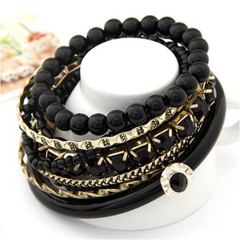 Black Ocean Beads Multilayer Bangles Set(CFB0069)