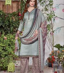 Buy Gray fancy designer semi stitched cotton palazzo suit with dupatta palazzo online