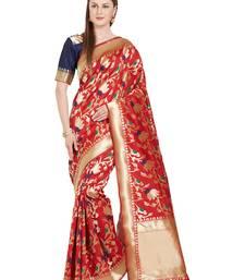 Buy blue woven silk saree with blouse kanchipuram-silk-saree online