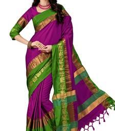 Buy Purple Soft Silk woven saree with blouse silk-saree online