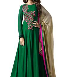 Buy Green embroidered georgette salwar anarkali-salwar-kameez online