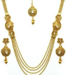 Buy Gold Plated Layered Necklace Set with Earrings & Maang Tika necklace-set online