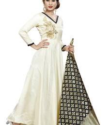 Buy White embroidered silk salwar salwar-kameez online