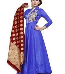 Buy Blue embroidered silk salwar salwar-kameez online