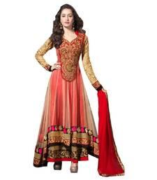 Buy Red embroidered georgette salwar anarkali-salwar-kameez online