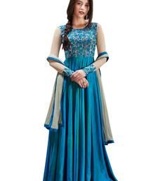 Buy Sky-blue embroidered silk semi-stitched salwar kameez with dupatta anarkali-salwar-kameez online