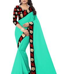 Buy Green plain chanderi saree with blouse chanderi-saree online