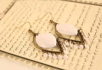 Bohemian White Drop Earrings