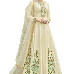 Buy Cream embroidered silk salwar anarkali-salwar-kameez online