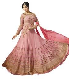 Buy Baby-pink embroidered georgette salwar anarkali-salwar-kameez online