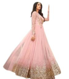 Buy Pink Colour embroidered work net designer salwar suit. net-salwar-suit online