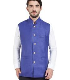 Buy blue cotton poly nehru jacket nehru-jacket online