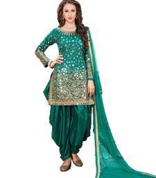 Buy Green embroidered taffeta salwar with dupatta punjabi-suit online