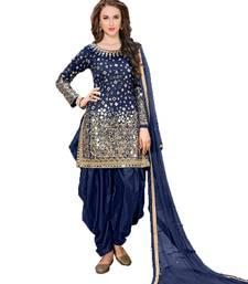Buy Blue embroidered taffeta salwar with dupatta punjabi-suit online