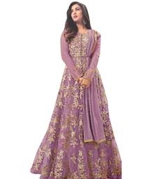 Buy Purple Color embroidered Work designer net-salwar-suits net-salwar-suit online