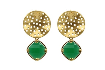 Matte Gold With Emerald Stone Danglers