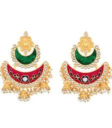 Buy Traditionally Chandbali Shape With Meenakari Work Gold Plated Jhumki Earring For Women jhumka online