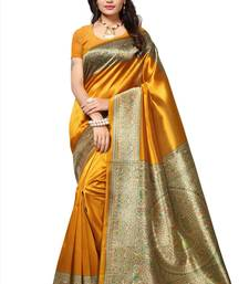 Buy Yellow printed art silk saree with blouse kalamkari-saree online