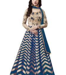 Buy Blue embroidered brocade semi-stitched anarkali salwar with dupatta anarkali-salwar-kameez online