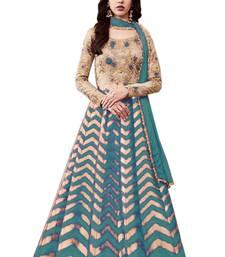 Buy Multicolor embroidered brocade semi-stitched anarkali salwar with dupatta anarkali-salwar-kameez online