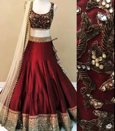 Buy maroon viscose patch patti lehenga with dupatta lehenga-choli online