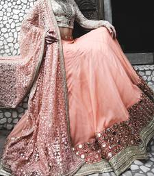 Buy light apricot georgette plain lehenga with dupatta lehenga-choli online