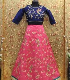 Buy Pink color Embroidered work Mulburin fabric Full Stitched crop-top with blouse readymade-lehenga-cholis online