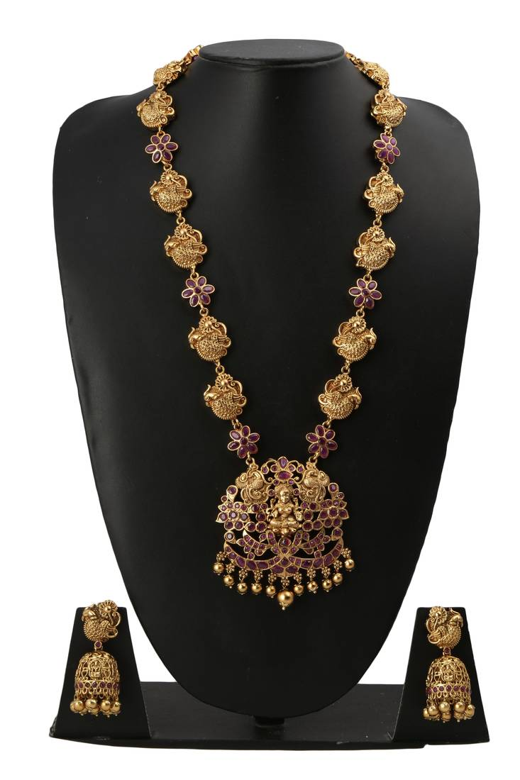 and with pearls stones kundan necklace cz pendant set online chain antique ruby jumki