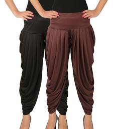 Buy Black and Brown plain Lycra free size combo patialas pants patiala-combo online