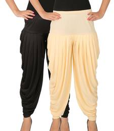 Buy Black and Cream plain Lycra free size combo patialas pants patiala-combo online