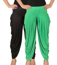 Buy Black and Green plain Lycra free size combo patialas pants patiala-combo online