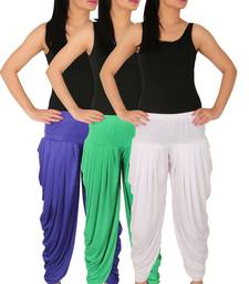 Buy Blue and Green and White plain Lycra free size combo patialas pants patiala-combo online
