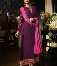 Buy Purple embroidered georgette semi stitched salwar with dupatta malaika-arora-khan online
