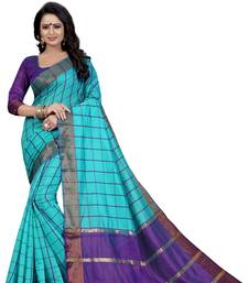 Buy Blue woven cotton silk saree with blouse ikat-saree online