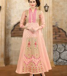 Buy Peach embroidered Mulberry Silk Semi-stitched Gown heavy-work-kurtis online