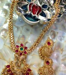 Buy Georgeous gold plated kempu necklace set necklace-set online