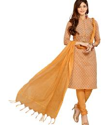 Buy Beige printed cotton stitched salwar with dupatta readymade-suit online
