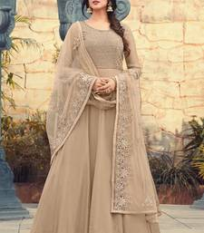 Buy Beige embroidered georgette semi stitched salwar with dupatta pakistani-salwar-kameez online