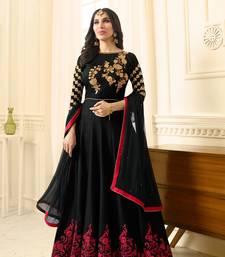 Buy Black embroidered raw silk salwar anarkali-salwar-kameez online
