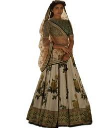 Buy Cream thread embroidery silk semi stitched lehenga bridal-lehenga online