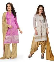 Buy Multicolor embroidered chanderi salwar salwar-combo online