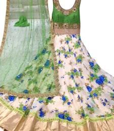 Buy Green banglori satin silk long anarkali suit anarkali-salwar-kameez online