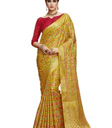 Buy Yellow woven art silk saree with blouse art-silk-saree online