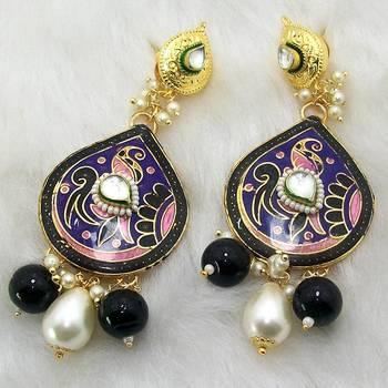 Meenakari Pendant Earring Violet Black