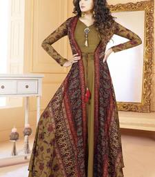 Buy Mehendi Tussar Silk Readymade Suits readymade-suit online