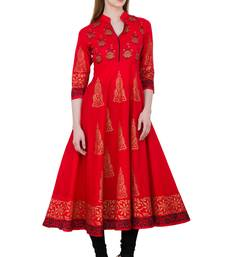 Buy Red printed cotton long kurtis long-kurtis online