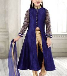 Buy Navy Blue Sequance Embroidery Banglori Silk With Net Anarkali Style ReadyMade Kids Salwar Suit kids-salwar-suit online