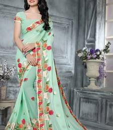 Buy  multicolor embroidered georgette  saree with blouse Saree online