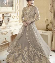 Buy grey georgette embroidered semi stitched pakistani salwar with dupatta pakistani-salwar-kameez online